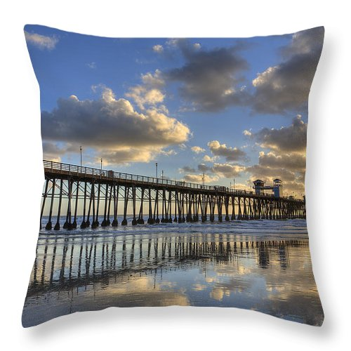 California Throw Pillow featuring the photograph Oceanside Pier Sunset Reflection by Peter Tellone
