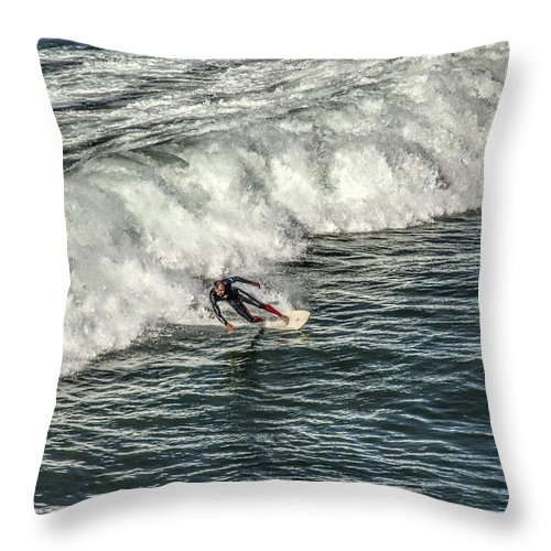 Carlsbad Throw Pillow featuring the photograph Oceanside Surfer 3 by Diana Powell