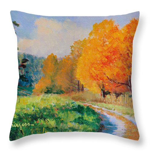 Impressionism Throw Pillow featuring the painting October Backroad by Keith Burgess