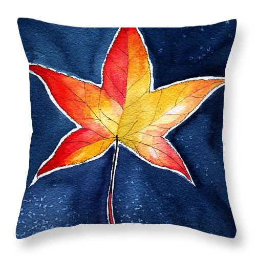 Red Throw Pillow featuring the painting October Night by Katherine Miller