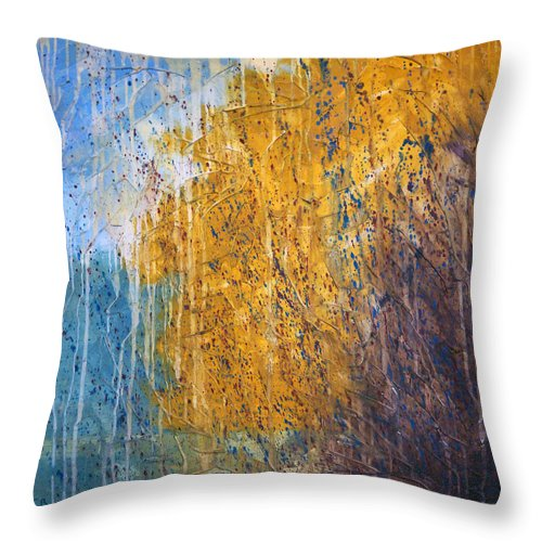 Landscape Throw Pillow featuring the painting October by Sergey Bezhinets