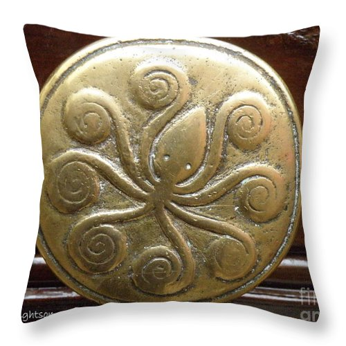 Octopus Throw Pillow featuring the photograph Octopus Door Knob by Lainie Wrightson