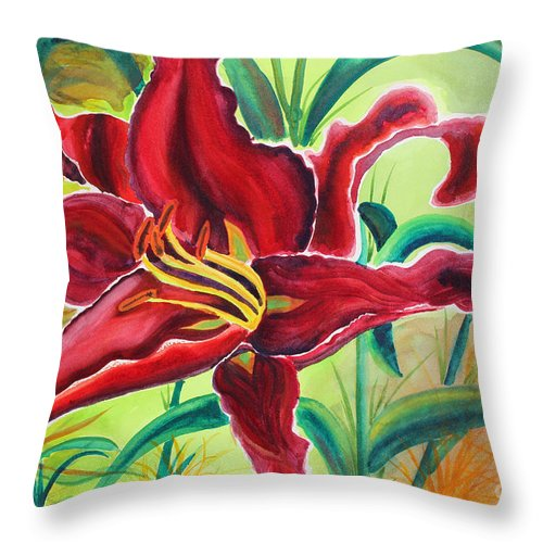 Lily Throw Pillow featuring the painting Oddly Twisted by Shannan Peters