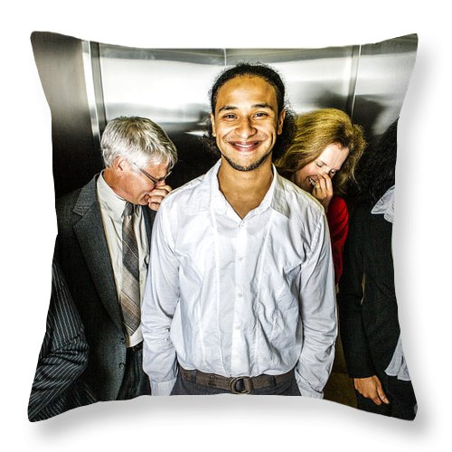 Fart Throw Pillow featuring the photograph Odor In The Elevator by Diane Diederich
