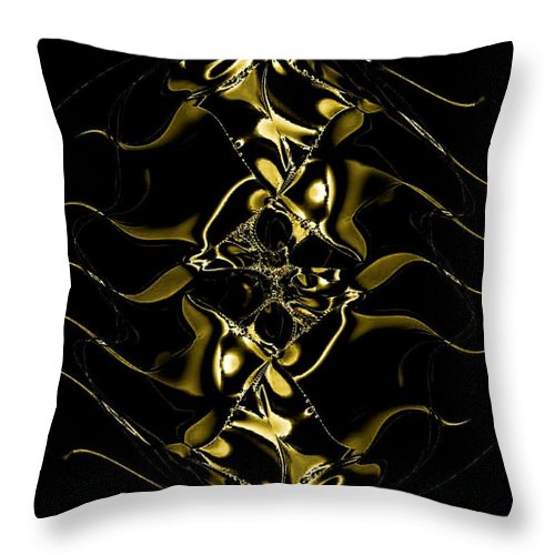 Of Golden Waves Throw Pillow featuring the digital art Of Golden Waves by Maria Urso