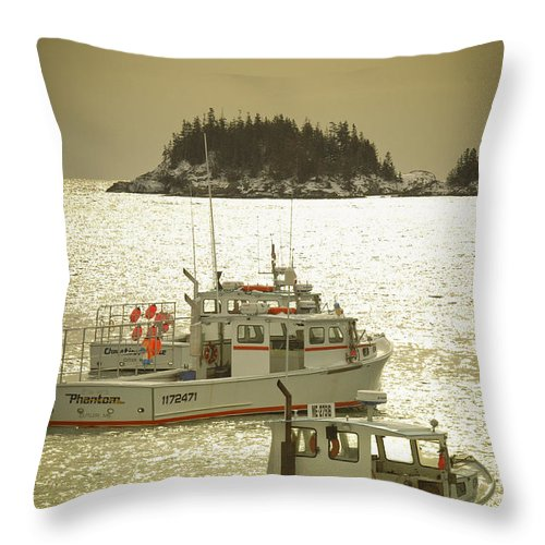 Maine Lobster Boats Throw Pillow featuring the photograph Off Season by Alana Ranney