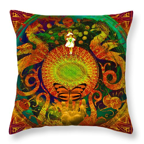Solar Power Throw Pillow featuring the digital art Solar Enighter by Joseph Mosley