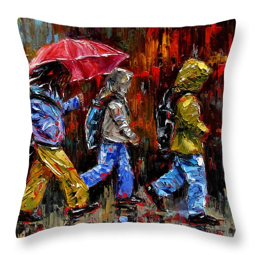 Children Art Throw Pillow featuring the painting Off To School by Debra Hurd