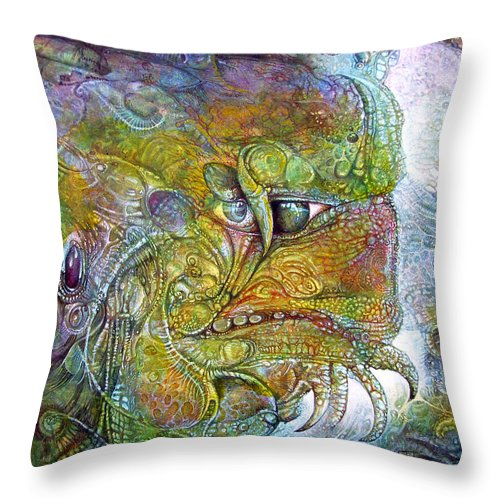 Tiamat Throw Pillow featuring the painting Offspring Of Tiamat - The Fomorii Union by Otto Rapp