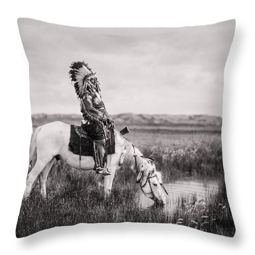 1905 Throw Pillow featuring the photograph Oglala Indian Man circa 1905 by Aged Pixel