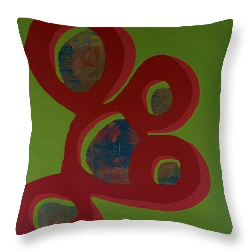 Original Throw Pillow featuring the painting Oh Meets Abstract by Artist Ai