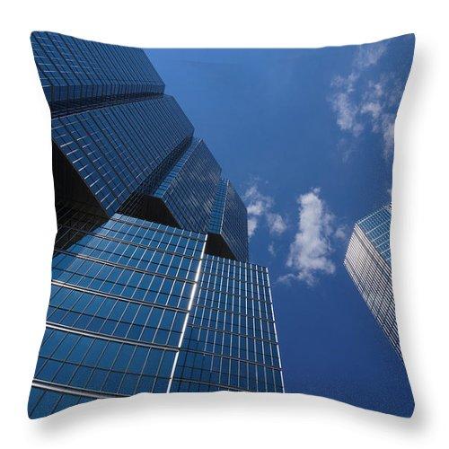 Georgia Mizuleva Throw Pillow featuring the photograph Oh So Blue - Downtown Toronto Skyscrapers by Georgia Mizuleva