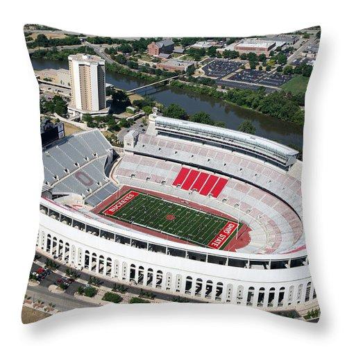 Columbus Throw Pillow featuring the photograph Ohio Stadium by Bill Cobb