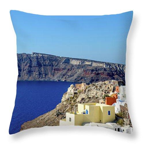 Scenics Throw Pillow featuring the photograph Oia Panoramic, Santorini, Greece by Chrishepburn