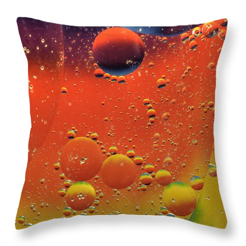 Abstract Throw Pillow featuring the photograph Oil And Water by Anthony Sacco