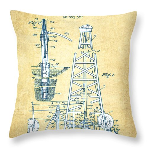 Oil Rig Throw Pillow featuring the drawing Oil Drilling Rig Patent From 1911 - Vintage Paper by Aged Pixel