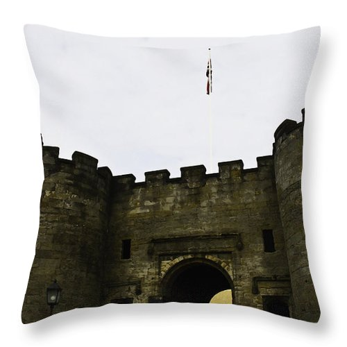 Action Throw Pillow featuring the digital art Oil Painting - British Flag Over A Doorway Inside The Stirling Castle by Ashish Agarwal
