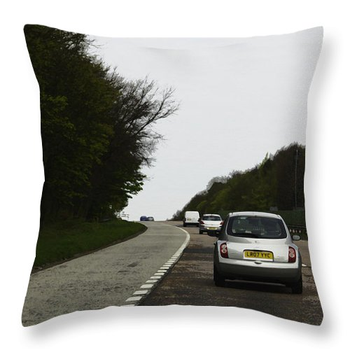 Canon Throw Pillow featuring the digital art Oil Painting - Nissan Micra On The Streets Of Scotland With Greenery On Both Sides by Ashish Agarwal