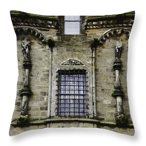 Action Throw Pillow featuring the digital art Oil Painting - Renaissance Styled Statues On Royal Palace In Stirling Castle by Ashish Agarwal