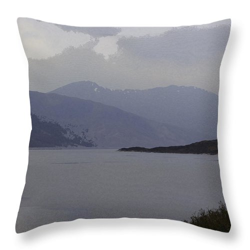 Canon Throw Pillow featuring the digital art Oil Painting - Rugged Outdoors And Waters Of A Loch In The Scottish Highlands by Ashish Agarwal