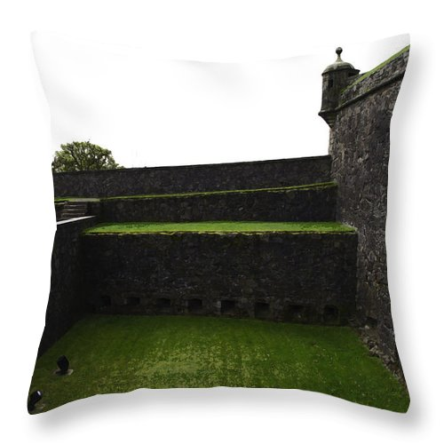 Action Throw Pillow featuring the digital art Oil Painting - The Depth Of The Moat Now Covered With Grass At Stirling Castle by Ashish Agarwal