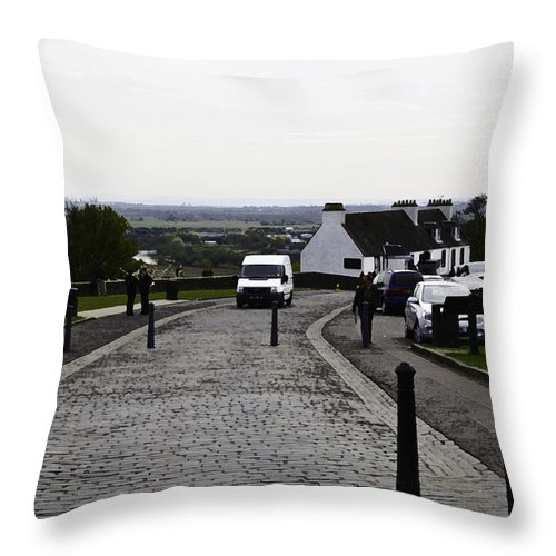 Action Throw Pillow featuring the digital art Oil Painting - Van Approaching The Entrance Of The Stirling Castle In Scotland by Ashish Agarwal