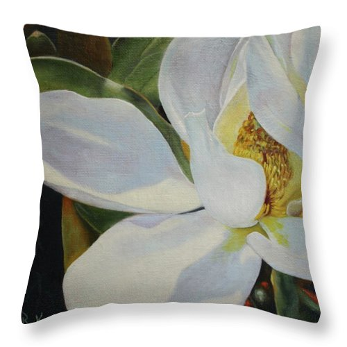 Roena King Throw Pillow featuring the painting Oil Painting - Sydney's Magnolia by Roena King