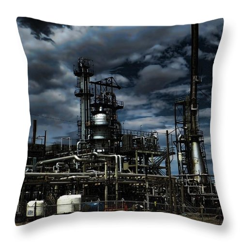 Sinclair Wyoming Throw Pillow featuring the photograph Oil Refinery Sinclair Wyoming by Cathy Anderson