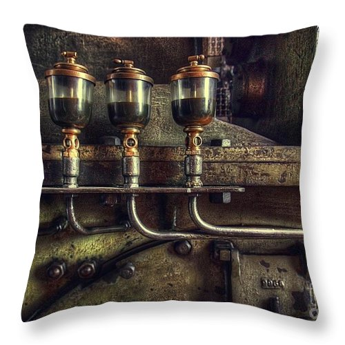 Steam Throw Pillow featuring the photograph Oil Valves by Carlos Caetano