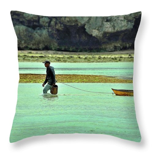 Okinawa Throw Pillow featuring the photograph Okinawan Fisherman by Kidder Sherwood