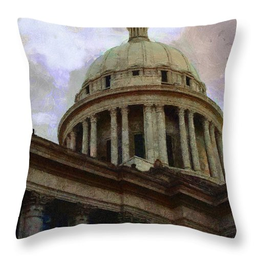 Architecture Throw Pillow featuring the painting Oklahoma Capital by Jeffrey Kolker