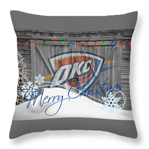 Thunder Throw Pillow featuring the photograph Oklahoma City Thunder by Joe Hamilton