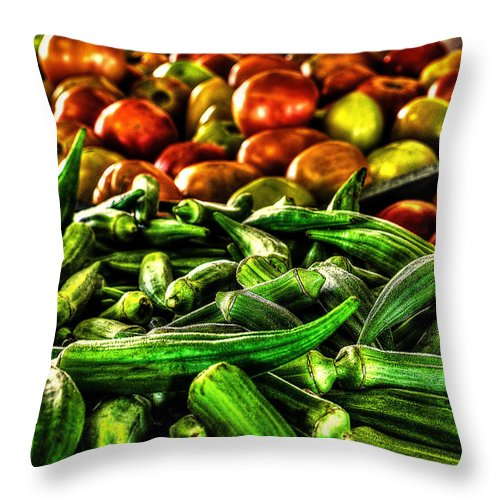 Okra Throw Pillow featuring the photograph Okra And Tomatoes by David Morefield