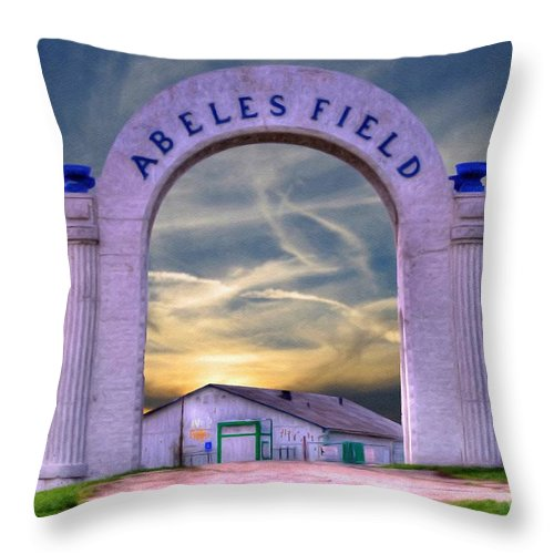 Old Abeles Field Throw Pillow featuring the painting Old Abeles Field - Leavenworth Kansas by Liane Wright