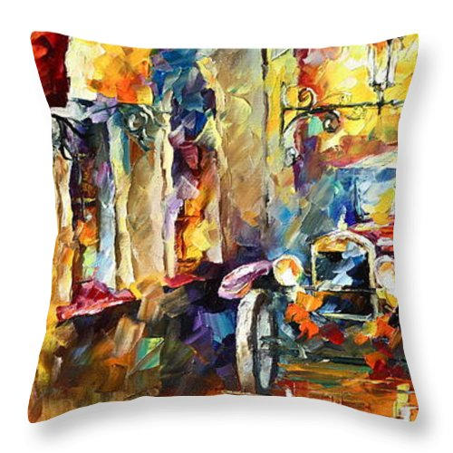 Afremov Throw Pillow featuring the painting Old Alleyway by Leonid Afremov
