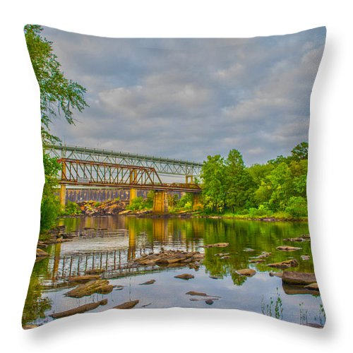 Bridges Throw Pillow featuring the photograph Old And New Bridges by Shannon Harrington