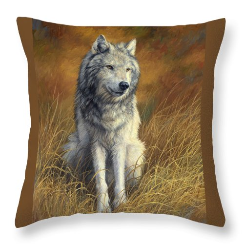 Wolf Throw Pillow featuring the painting Old and Wise by Lucie Bilodeau