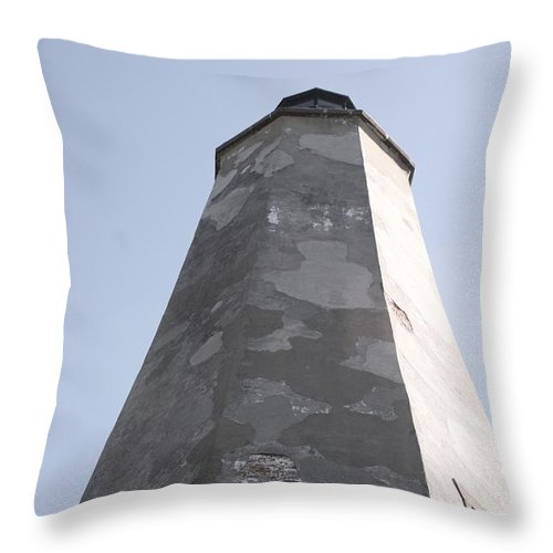 Lighthouse Throw Pillow featuring the photograph Old Baldy Lighthouse Nc by Nadine Rippelmeyer