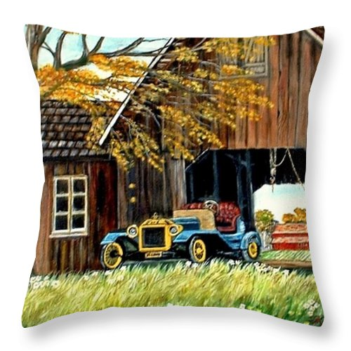 Old Barn Car Throw Pillow featuring the painting Old Barn And Old Car by Kenneth LePoidevin