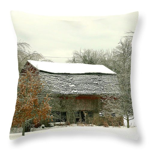 Maine Throw Pillow featuring the photograph Old Barn by Laura Mace Rand