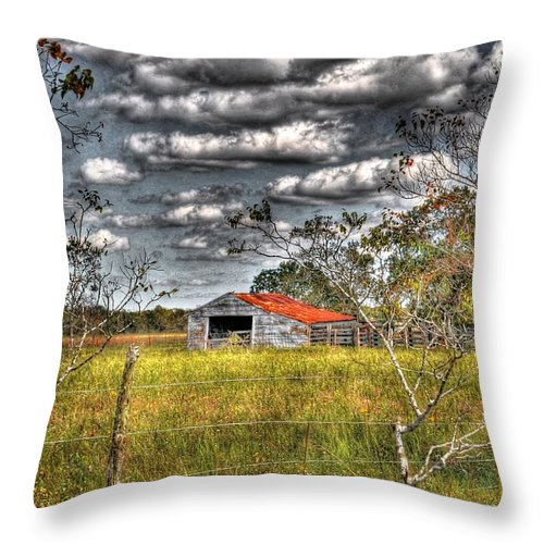 Old Throw Pillow featuring the photograph Old Barn by Savannah Gibbs