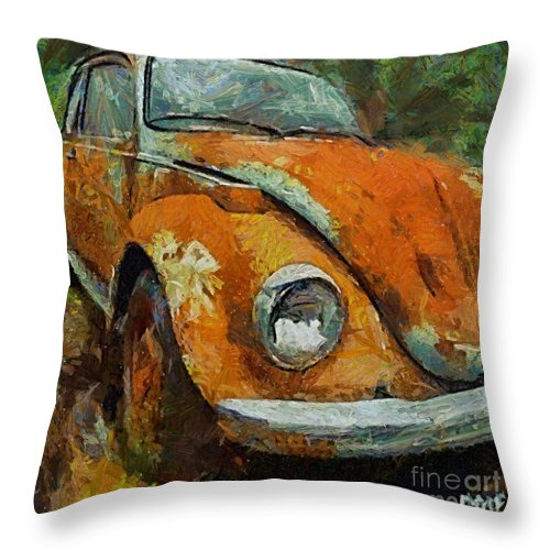 Car Throw Pillow featuring the painting Old Beetle by Dragica Micki Fortuna