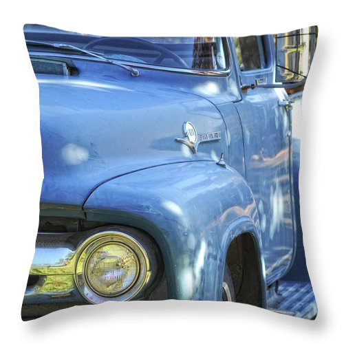 Ford Throw Pillow featuring the photograph Old Blue by Donna Blackhall