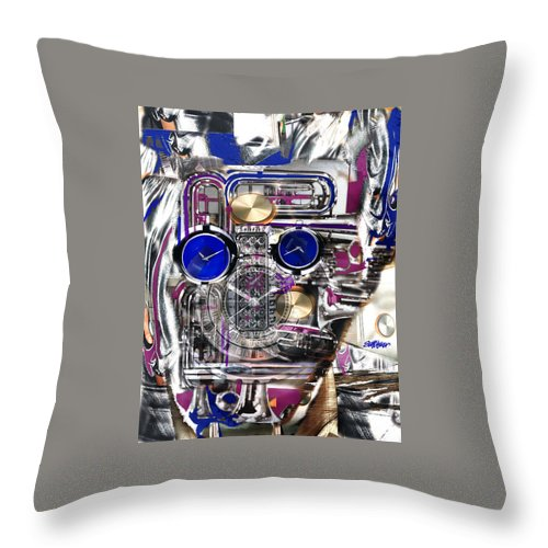 Robotic Time Traveller Throw Pillow featuring the digital art Old Blue Eyes by Seth Weaver