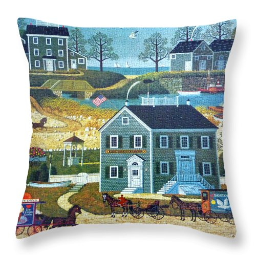 Puzzle Throw Pillow featuring the photograph Old Boston Puzzle by Mountain Dreams