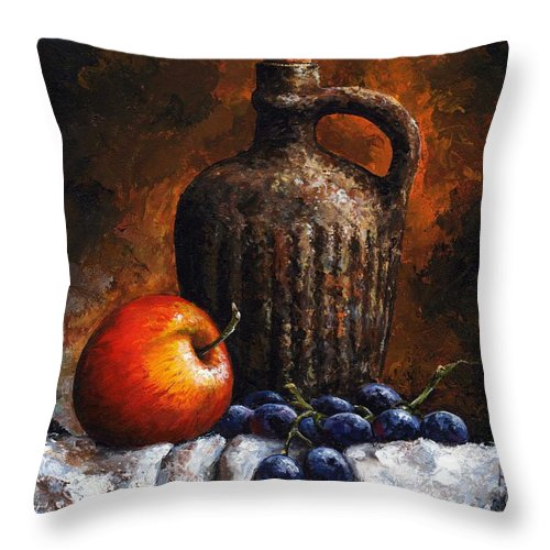 Still Life Throw Pillow featuring the painting Old Bottle And Fruit by Emerico Imre Toth