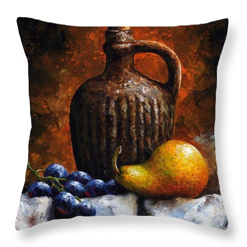 Still Life Throw Pillow featuring the painting Old Bottle And Fruit II by Emerico Imre Toth