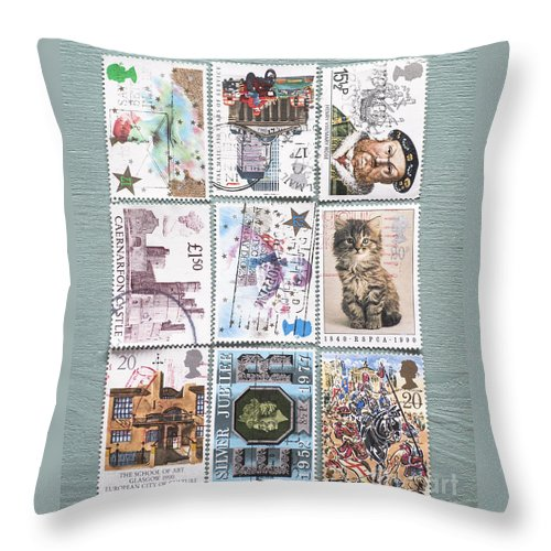 Stamp Throw Pillow featuring the photograph Old British Postage Stamps by Jan Bickerton