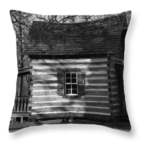 Old Throw Pillow featuring the photograph Old Cabin At Fort Washita In Bw by Robyn Stacey