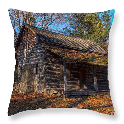 Cabin Throw Pillow featuring the photograph Old Cabin In The Woods by Thomas Sellberg